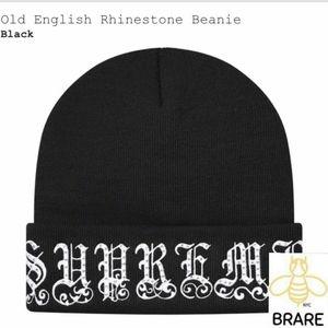 Supreme Old English Rhinestone Black Beanie